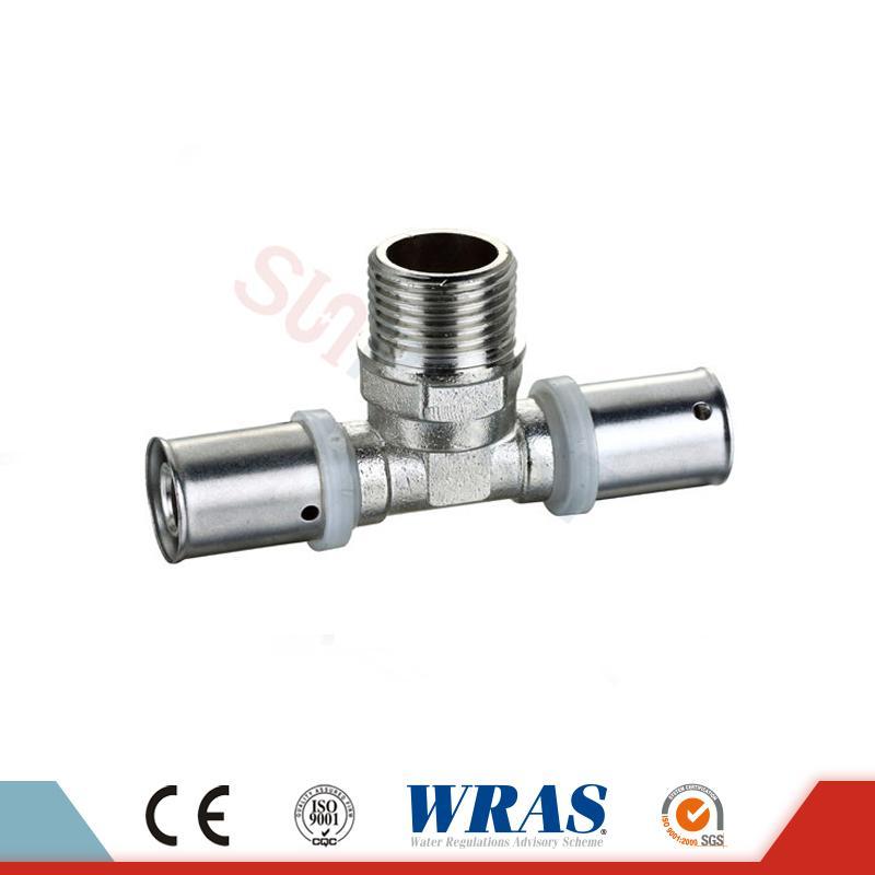 Brass Press Male Tee cho ống nhiều lớp PEX-AL-PEX