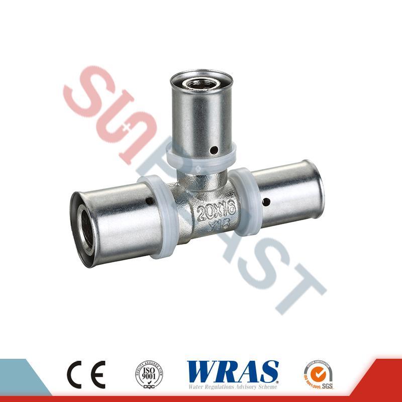 Brass Press Giảm Tee cho ống nhiều lớp PEX-AL-PEX